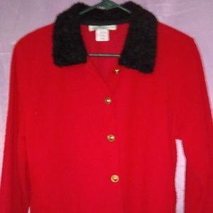 Cathy Daniels Red Button Up Cardigan Size Medium